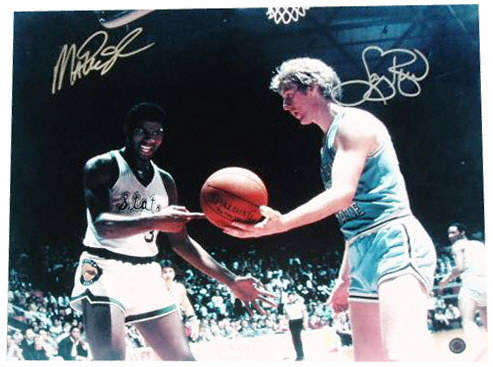 An autographed photo graph of Larry Bird and Magic Johnson